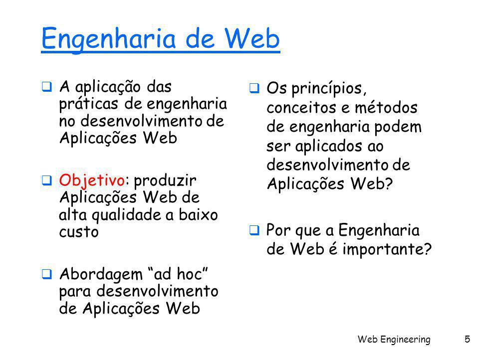 Web Engineering5 Engenharia de Web  A aplicação das práticas de engenharia no desenvolvimento de Aplicações Web  Objetivo: produzir Aplicações Web de alta qualidade a baixo custo  Abordagem ad hoc para desenvolvimento de Aplicações Web  Os princípios, conceitos e métodos de engenharia podem ser aplicados ao desenvolvimento de Aplicações Web.