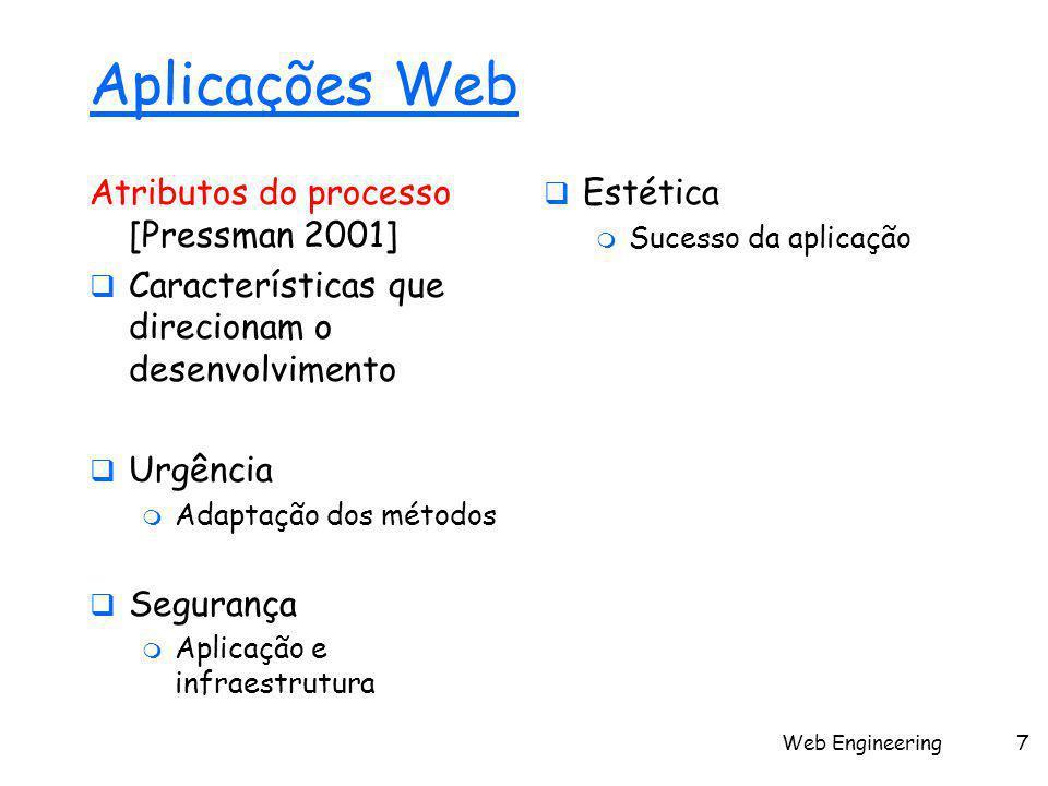 Web Engineering7 Aplicações Web Atributos do processo [Pressman 2001]  Características que direcionam o desenvolvimento  Urgência  Adaptação dos mé