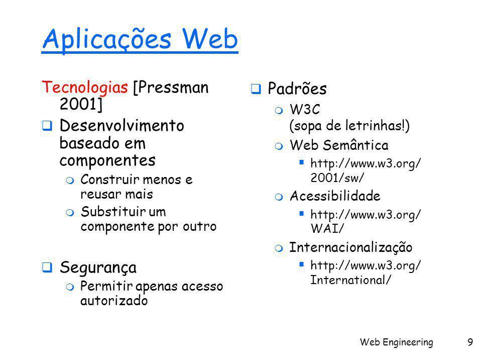Web Engineering9 Aplicações Web Tecnologias [Pressman 2001]  Desenvolvimento baseado em componentes  Construir menos e reusar mais  Substituir um componente por outro  Segurança  Permitir apenas acesso autorizado  Padrões  W3C (sopa de letrinhas!)  Web Semântica  http://www.w3.org/ 2001/sw/  Acessibilidade  http://www.w3.org/ WAI/  Internacionalização  http://www.w3.org/ International/