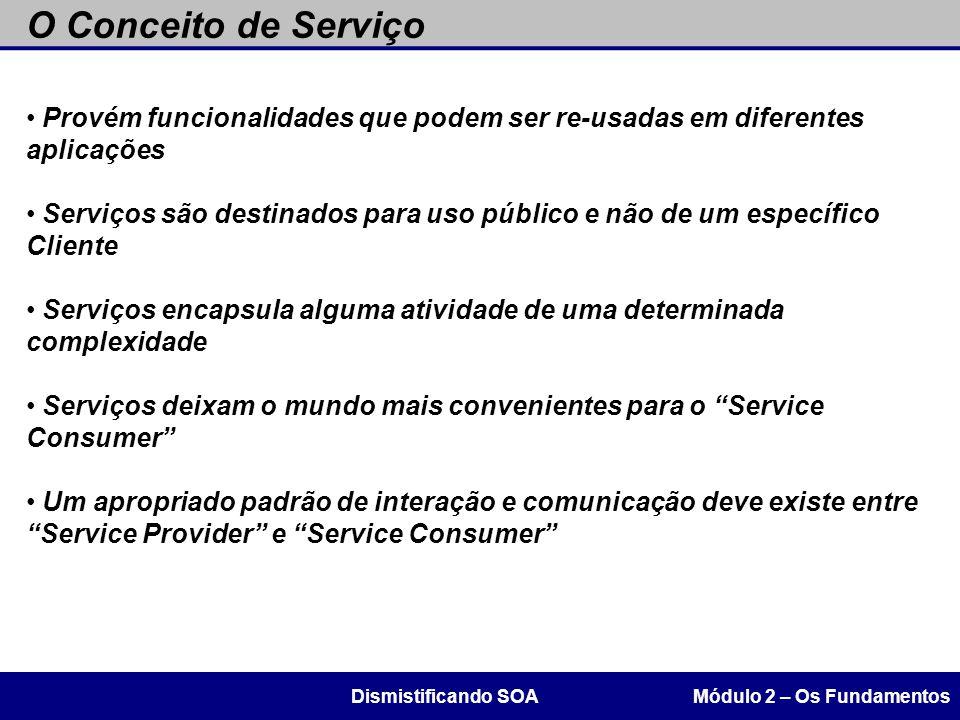 Provém funcionalidades que podem ser re-usadas em diferentes aplicações Serviços são destinados para uso público e não de um específico Cliente Serviç