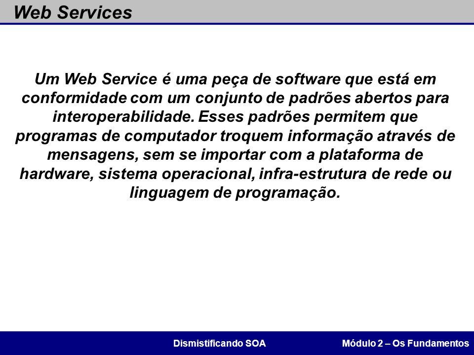 Um Web Service é uma peça de software que está em conformidade com um conjunto de padrões abertos para interoperabilidade. Esses padrões permitem que