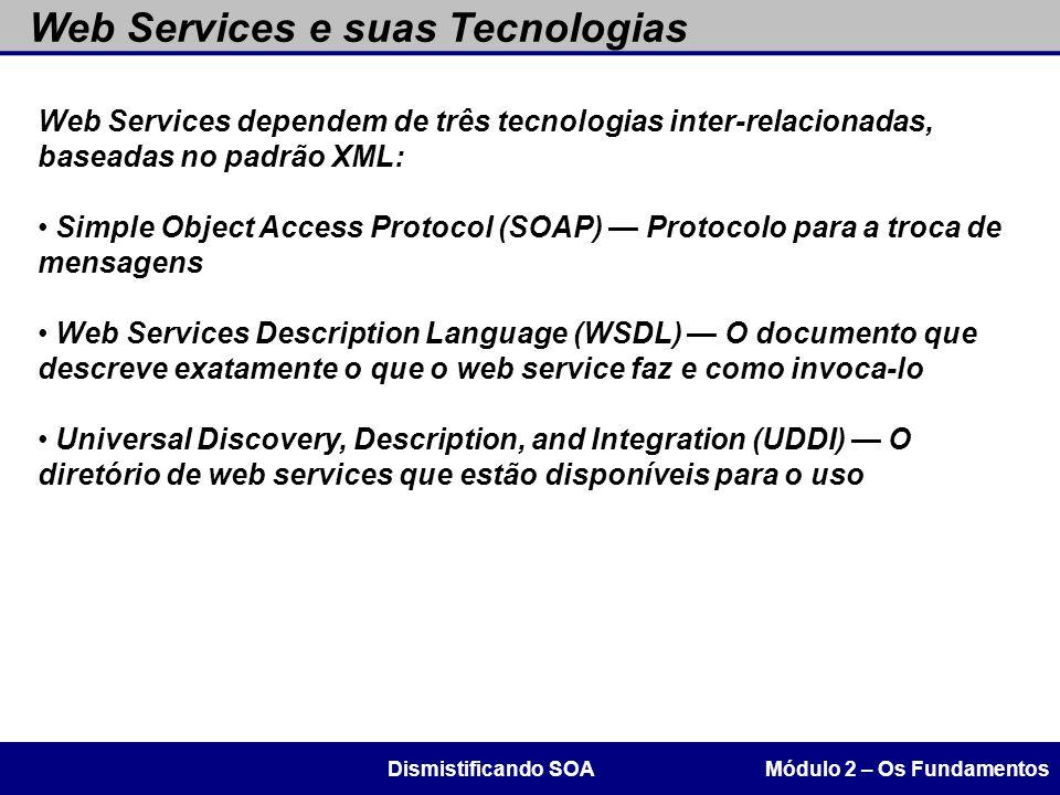 Web Services e suas Tecnologias Módulo 2 – Os FundamentosDismistificando SOA Web Services dependem de três tecnologias inter-relacionadas, baseadas no