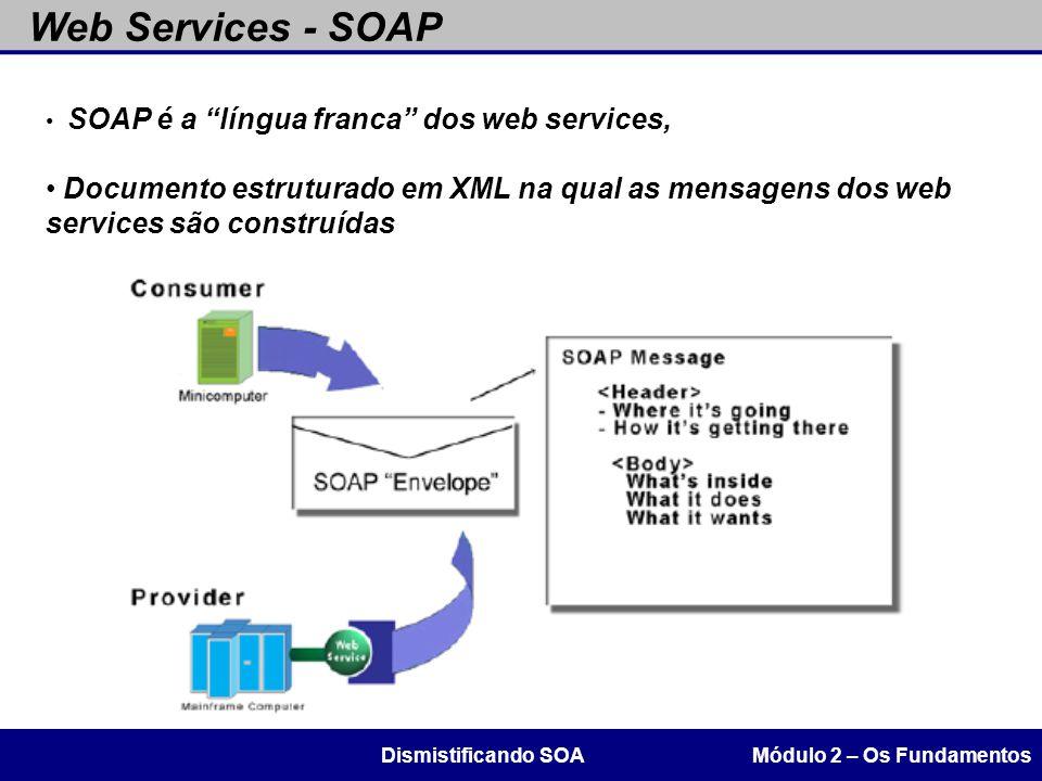 """Web Services - SOAP Módulo 2 – Os FundamentosDismistificando SOA SOAP é a """"língua franca"""" dos web services, Documento estruturado em XML na qual as me"""