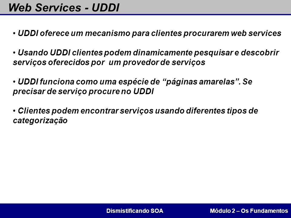 Web Services - UDDI Módulo 2 – Os FundamentosDismistificando SOA UDDI oferece um mecanismo para clientes procurarem web services Usando UDDI clientes