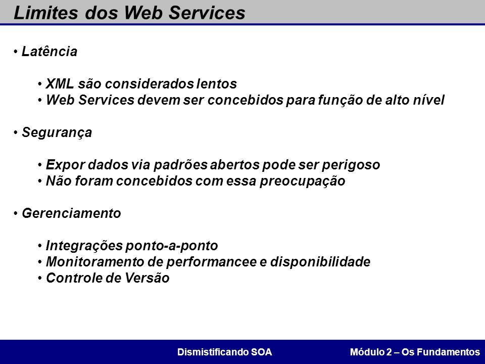Limites dos Web Services Módulo 2 – Os FundamentosDismistificando SOA Latência XML são considerados lentos Web Services devem ser concebidos para funç