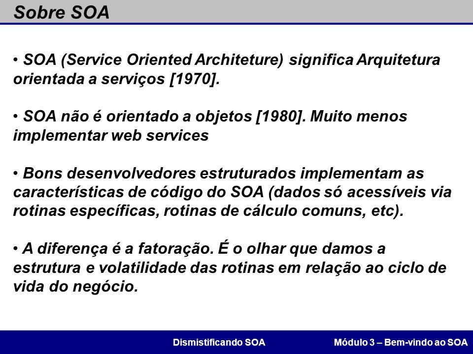 Sobre SOA Módulo 3 – Bem-vindo ao SOADismistificando SOA SOA (Service Oriented Architeture) significa Arquitetura orientada a serviços [1970]. SOA não