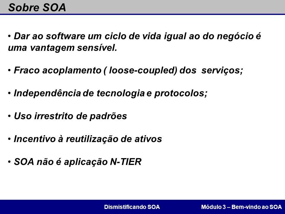 Sobre SOA Módulo 3 – Bem-vindo ao SOADismistificando SOA Dar ao software um ciclo de vida igual ao do negócio é uma vantagem sensível. Fraco acoplamen