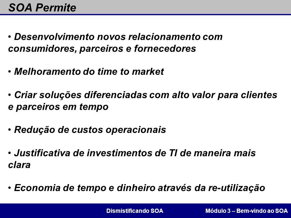SOA Permite Módulo 3 – Bem-vindo ao SOADismistificando SOA Desenvolvimento novos relacionamento com consumidores, parceiros e fornecedores Melhorament