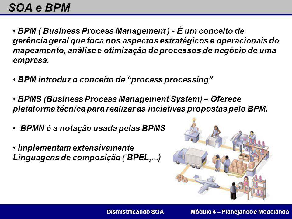 SOA e BPM Módulo 4 – Planejando e ModelandoDismistificando SOA BPM ( Business Process Management ) - É um conceito de gerência geral que foca nos aspe