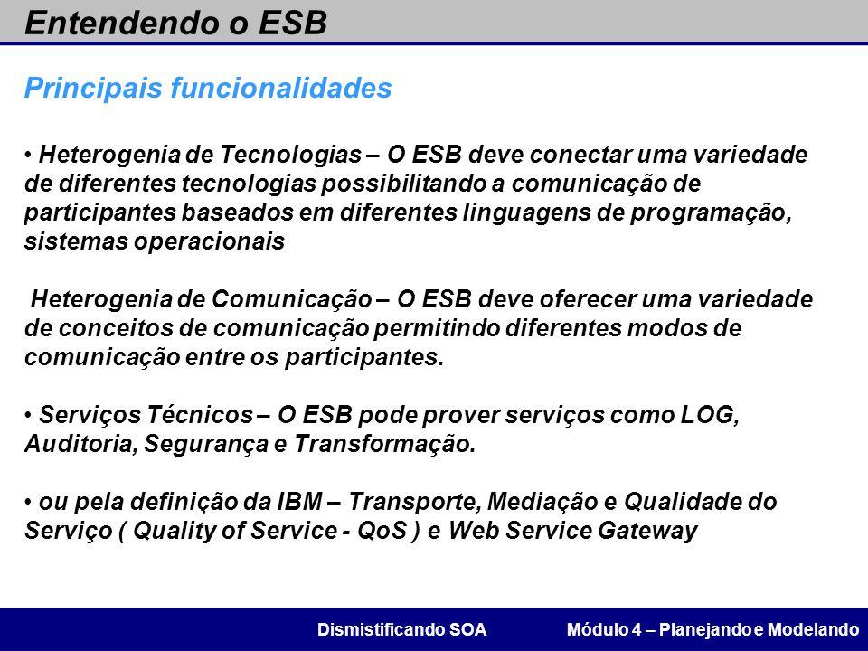 Entendendo o ESB Módulo 4 – Planejando e ModelandoDismistificando SOA Principais funcionalidades Heterogenia de Tecnologias – O ESB deve conectar uma