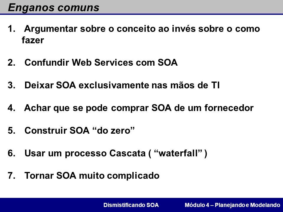 Enganos comuns Módulo 4 – Planejando e ModelandoDismistificando SOA 1. 1. Argumentar sobre o conceito ao invés sobre o como fazer 2. 2. Confundir Web