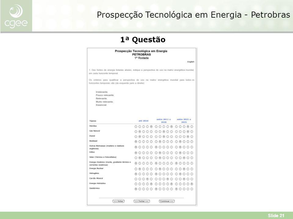 Slide 21 Prospecção Tecnológica em Energia - Petrobras 1ª Questão