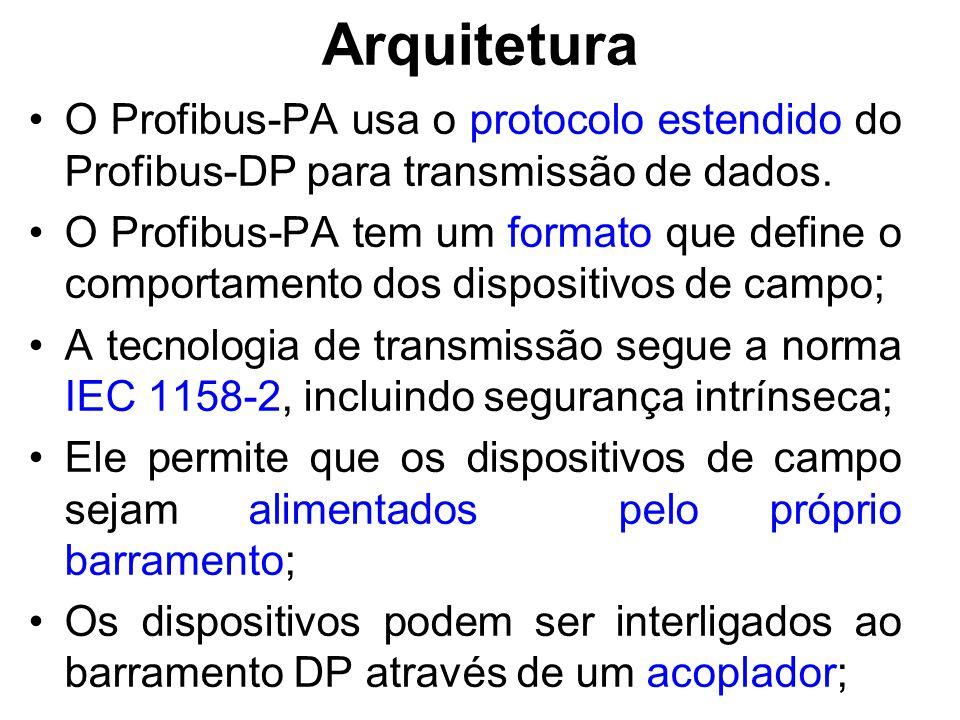 Arquitetura O Profibus-PA usa o protocolo estendido do Profibus-DP para transmissão de dados. O Profibus-PA tem um formato que define o comportamento