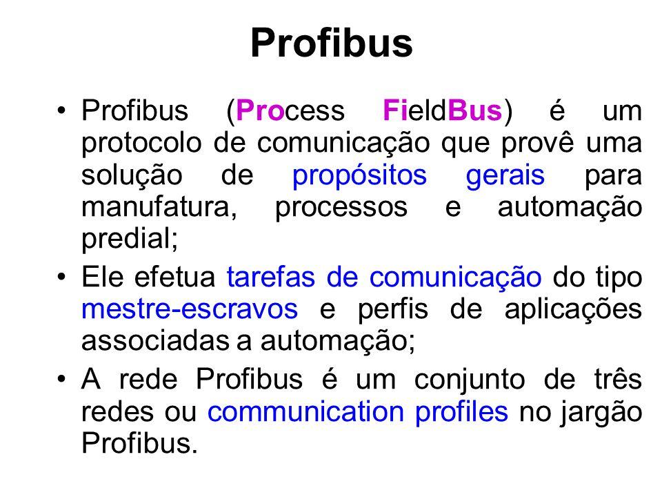 Profibus Profibus DP (Distributed Peripherals): Esta rede é especializada na comunicação entre sistemas de automação e periféricos distribuídos; Profibus FMS (Fieldbus Message Specification): Tem uma ampla capacidade para comunicação de dispositivos inteligentes como: CLPs, DCS, Computadores ou outros sistemas que precisam de alta demanda de transmissão de dados.