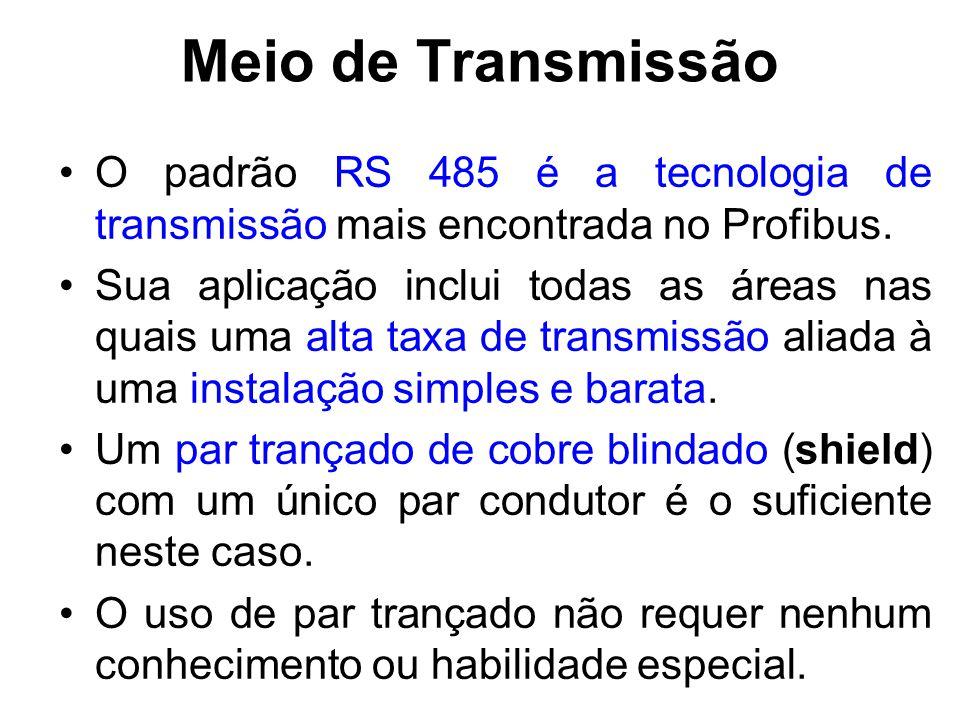 Meio de Transmissão O padrão RS 485 é a tecnologia de transmissão mais encontrada no Profibus. Sua aplicação inclui todas as áreas nas quais uma alta
