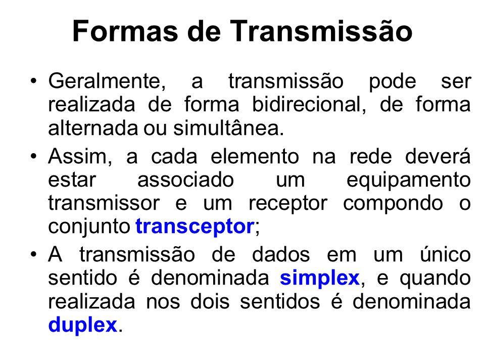Formas de Transmissão Geralmente, a transmissão pode ser realizada de forma bidirecional, de forma alternada ou simultânea. Assim, a cada elemento na