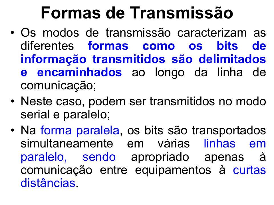 Formas de Transmissão Na transmissão serial, mais adequada a comunicação entre equipamentos separados por grandes distâncias, os bits são encaminhados serialmente através de uma única linha de comunicação, usualmente com 2 ou 4 fios.