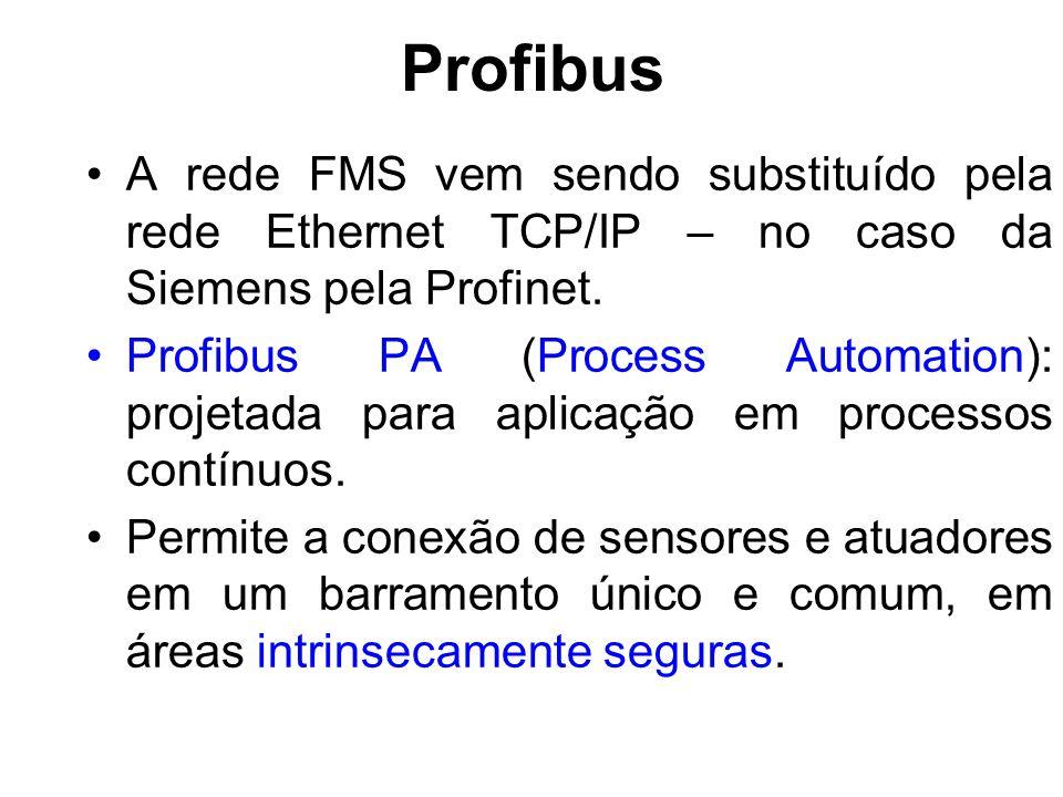 Profibus A rede FMS vem sendo substituído pela rede Ethernet TCP/IP – no caso da Siemens pela Profinet. Profibus PA (Process Automation): projetada pa