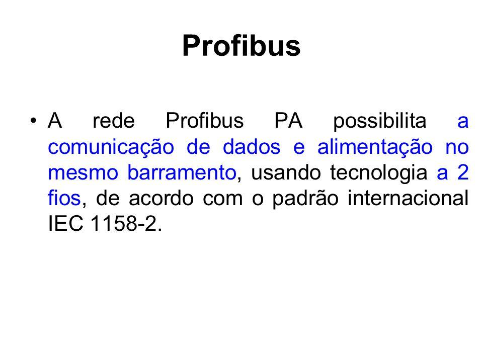Profibus A rede Profibus PA possibilita a comunicação de dados e alimentação no mesmo barramento, usando tecnologia a 2 fios, de acordo com o padrão i