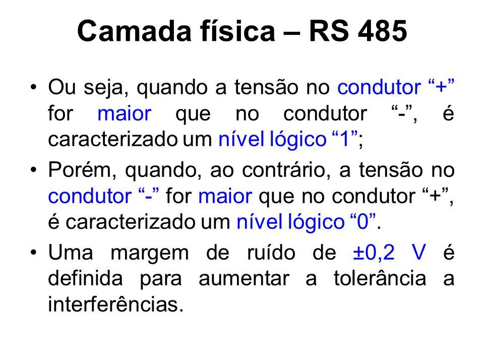 """Camada física – RS 485 Ou seja, quando a tensão no condutor """"+"""" for maior que no condutor """"-"""", é caracterizado um nível lógico """"1""""; Porém, quando, ao"""