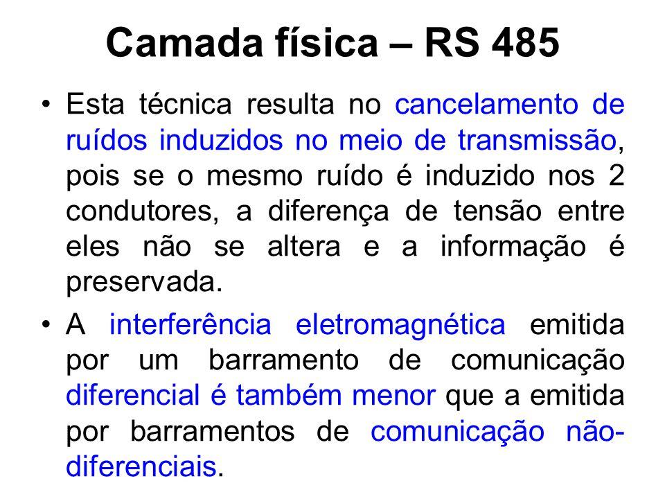 Camada física – RS 485 Os circuitos eletrônicos de transmissão e recepção da rede podem ser danificados se cabo apresentar um potencial muito elevado em relação ao referencial (comum ou terra).