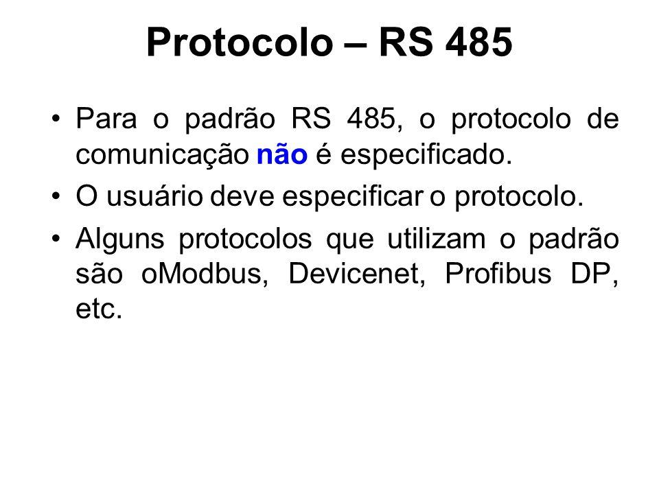 Protocolo – RS 485 Para o padrão RS 485, o protocolo de comunicação não é especificado. O usuário deve especificar o protocolo. Alguns protocolos que