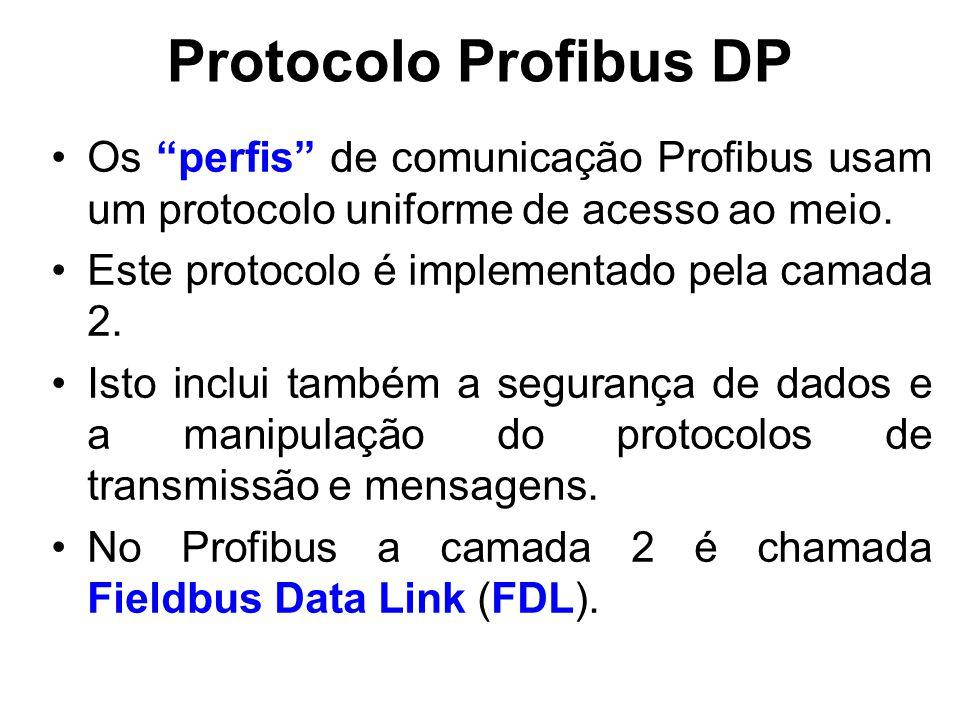 Protocolo Profibus DP O Controle de Acesso ao Meio (MAC) especifica o procedimento quando uma estação tem a permissão para transmitir dados.