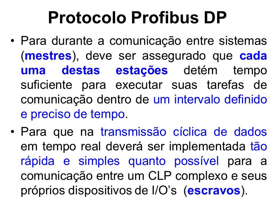 Protocolo Profibus DP Portanto, o protocolo Profibus de acesso ao barramento inclui o procedimento de passagem do Token, que é utilizado pelas estações ativas, os mestres, para comunicar-se uns com os outros; Enquanto que o procedimento de mestre- escravo que é usado por estações ativas para se comunicarem com as estações passivas, os escravos.