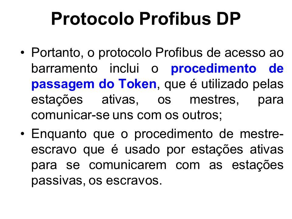 Protocolo Profibus DP Portanto, o protocolo Profibus de acesso ao barramento inclui o procedimento de passagem do Token, que é utilizado pelas estaçõe