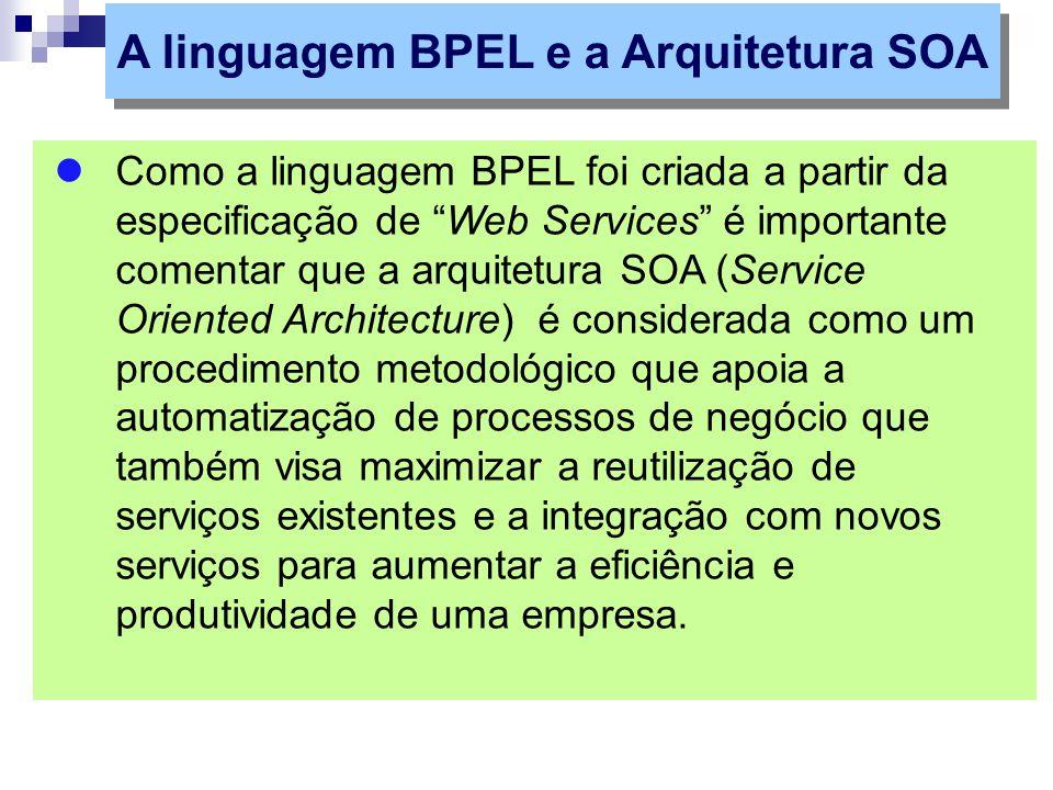 """Como a linguagem BPEL foi criada a partir da especificação de """"Web Services"""" é importante comentar que a arquitetura SOA (Service Oriented Architectur"""