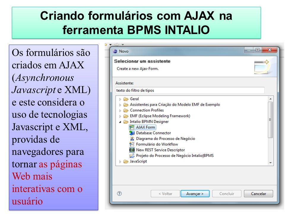 Criando formulários com AJAX na ferramenta BPMS INTALIO Os formulários são criados em AJAX (Asynchronous Javascript e XML) e este considera o uso de t