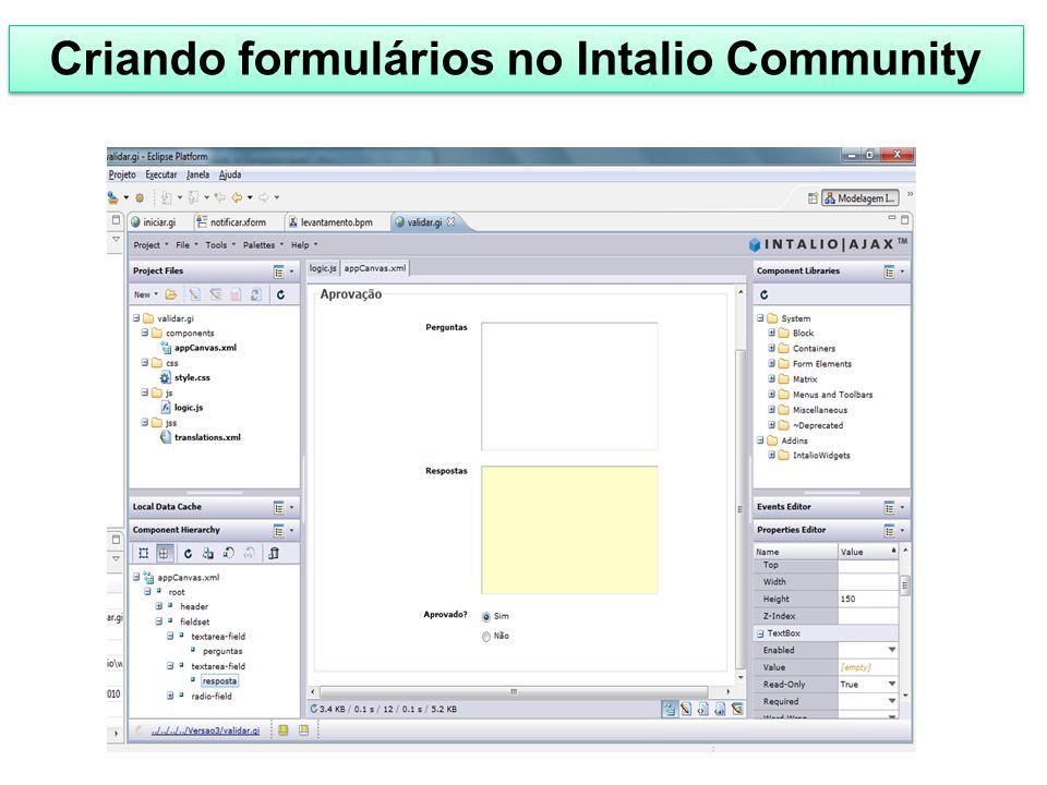 Criando formulários no Intalio Community