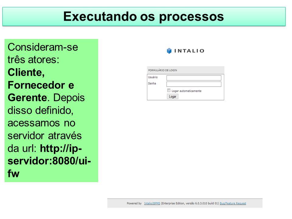 Executando os processos Consideram-se três atores: Cliente, Fornecedor e Gerente. Depois disso definido, acessamos no servidor através da url: http://