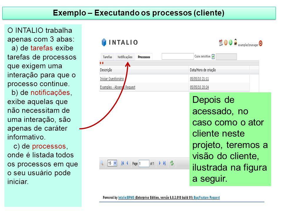 Exemplo – Executando os processos (cliente) Depois de acessado, no caso como o ator cliente neste projeto, teremos a visão do cliente, ilustrada na fi