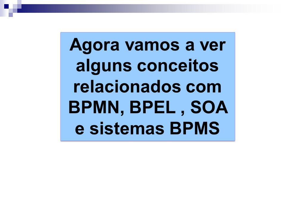 Agora vamos a ver alguns conceitos relacionados com BPMN, BPEL, SOA e sistemas BPMS