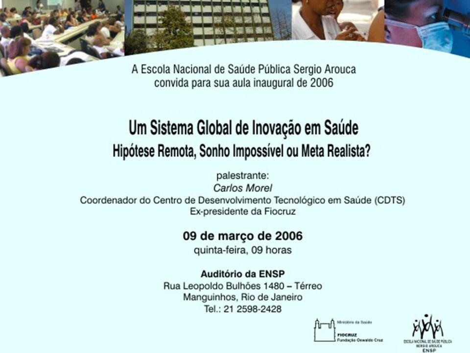 82 Falhas de ciência Causa: Conhecimento insuficiente Exemplo: vacinas inexistentes  Doenças virais: Dengue, gripe aviária  Doenças bacterianas: Hanseníase, tuberculose  Doenças parasitárias: Malaria, leishmanioses Necessidade: Pesquisa básica ou inspirada no uso ; Modo 2 de produção de conhecimento (*) Modalidade de Inovação  Produtos novos ou melhores  Novas estratégias de P&D; parcerias (Brasil: Lei da Inovação) (*) Gibbons M, Limoges C, Nowotny H, Schwartzman S, Scott P, Trow M: The new production of knowledge: the dynamics of science and research in contemporary societies.
