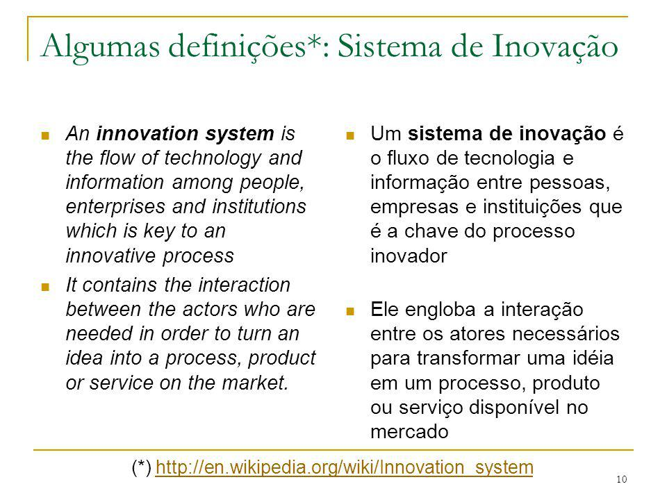 10 Algumas definições*: Sistema de Inovação An innovation system is the flow of technology and information among people, enterprises and institutions which is key to an innovative process It contains the interaction between the actors who are needed in order to turn an idea into a process, product or service on the market.