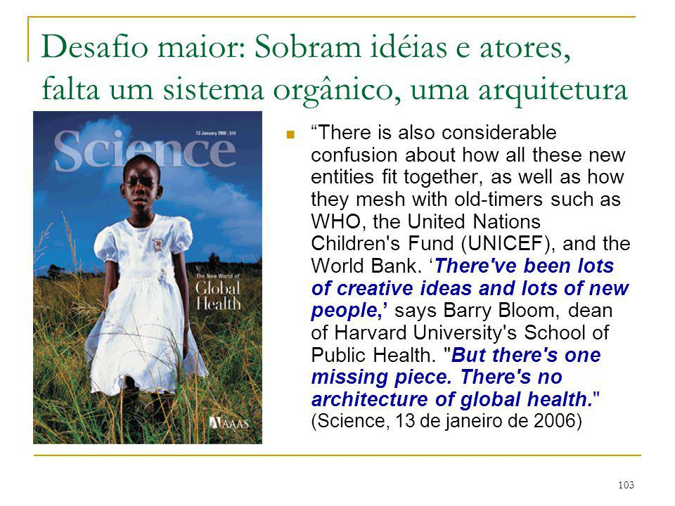 103 Desafio maior: Sobram idéias e atores, falta um sistema orgânico, uma arquitetura global There is also considerable confusion about how all these new entities fit together, as well as how they mesh with old-timers such as WHO, the United Nations Children s Fund (UNICEF), and the World Bank.