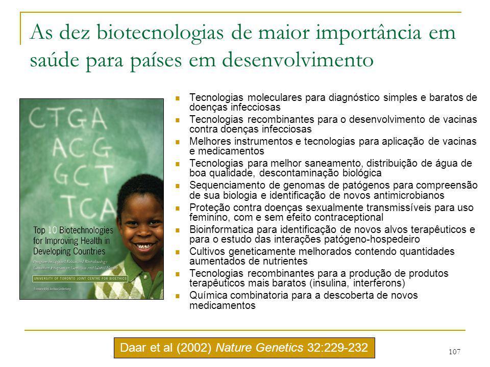 107 As dez biotecnologias de maior importância em saúde para países em desenvolvimento Tecnologias moleculares para diagnóstico simples e baratos de d