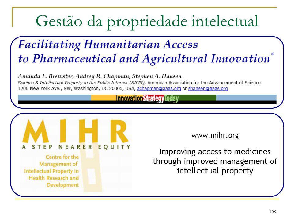 109 Gestão da propriedade intelectual