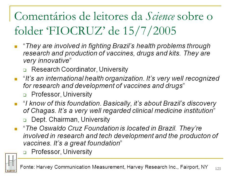 125 Comentários de leitores da Science sobre o folder 'FIOCRUZ' de 15/7/2005 They are involved in fighting Brazil's health problems through research and production of vaccines, drugs and kits.