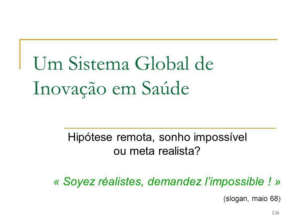 126 Um Sistema Global de Inovação em Saúde Hipótese remota, sonho impossível ou meta realista? « Soyez réalistes, demandez l'impossible ! » (slogan, m