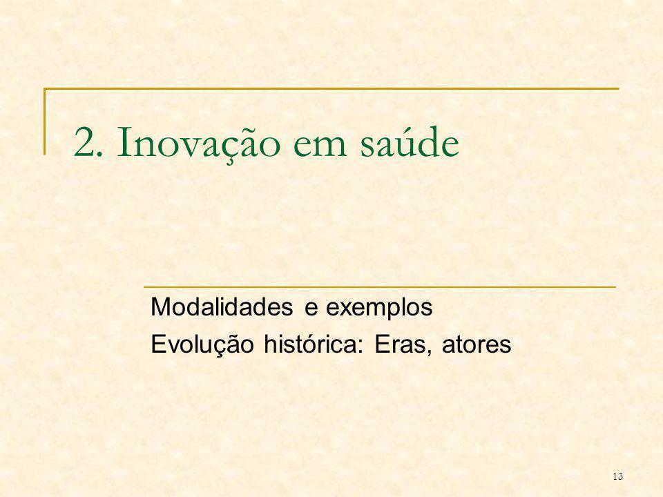 13 2. Inovação em saúde Modalidades e exemplos Evolução histórica: Eras, atores