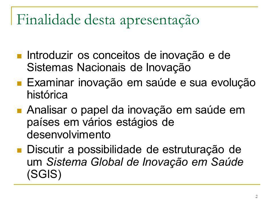 2 Finalidade desta apresentação Introduzir os conceitos de inovação e de Sistemas Nacionais de Inovação Examinar inovação em saúde e sua evolução hist