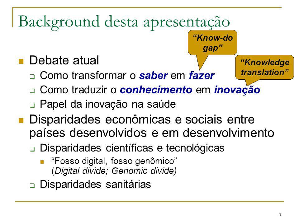 3 Background desta apresentação Debate atual  Como transformar o saber em fazer  Como traduzir o conhecimento em inovação  Papel da inovação na saú