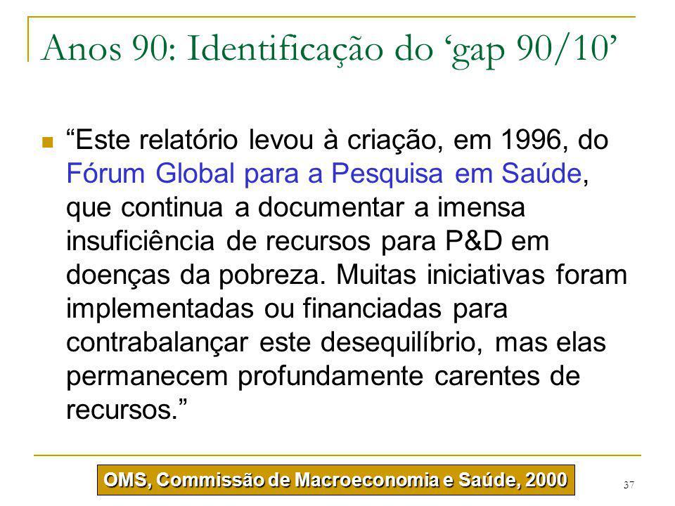 """37 Anos 90: Identificação do 'gap 90/10' """"Este relatório levou à criação, em 1996, do Fórum Global para a Pesquisa em Saúde, que continua a documentar"""