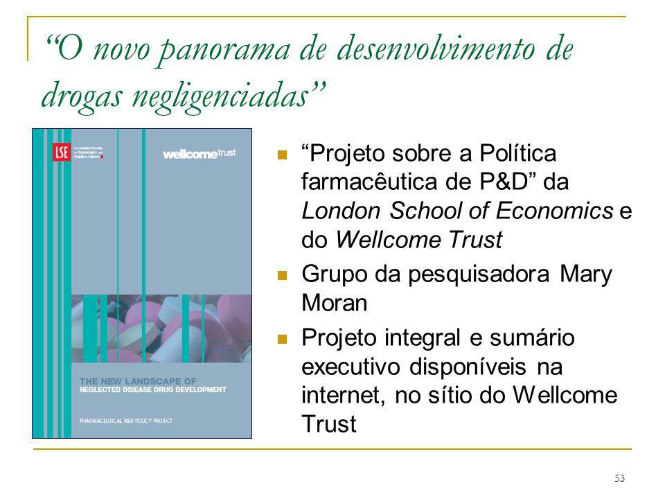 """53 """"O novo panorama de desenvolvimento de drogas negligenciadas"""" """"Projeto sobre a Política farmacêutica de P&D"""" da London School of Economics e do Wel"""