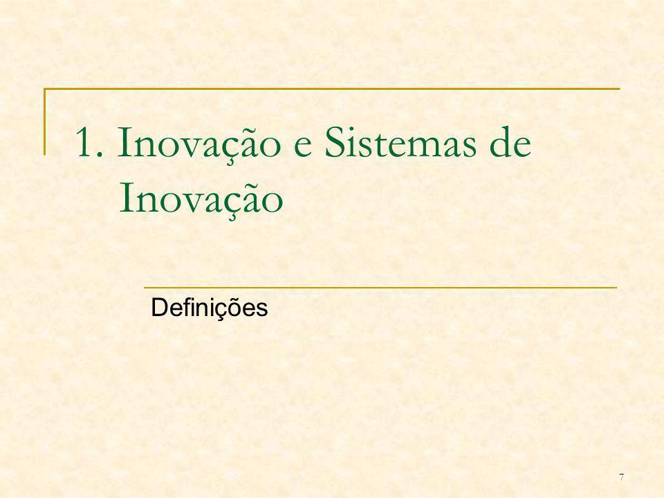 7 1. Inovação e Sistemas de Inovação Definições
