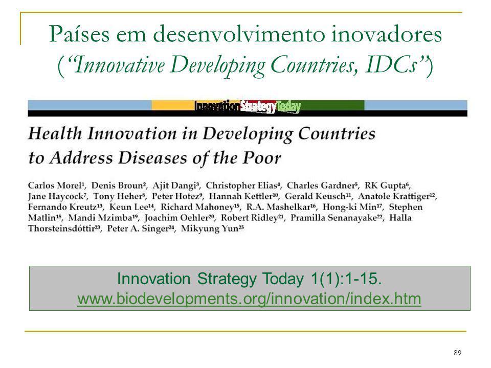 "89 Países em desenvolvimento inovadores (""Innovative Developing Countries, IDCs"") Innovation Strategy Today 1(1):1-15. www.biodevelopments.org/innovat"