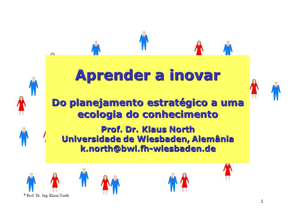 © Prof. Dr. Ing. Klaus North 1 Aprender a inovar Do planejamento estratégico a uma ecologia do conhecimento Prof. Dr. Klaus North Universidade de Wies